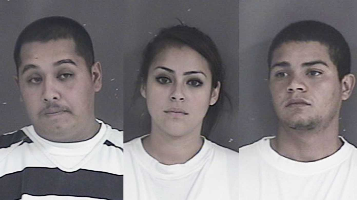 David Villarreal, left, Stephanie Fernandez, and Larry Quiroz are seen in mug shots.
