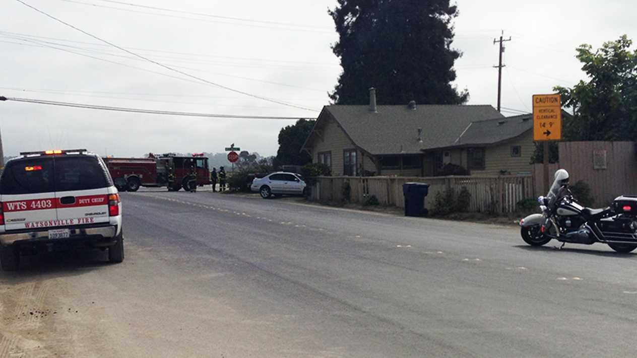 A car crashed into this house in Watsonville on the corner of Ohlone Parkway and West Beach Street. (Sept. 26, 2012)