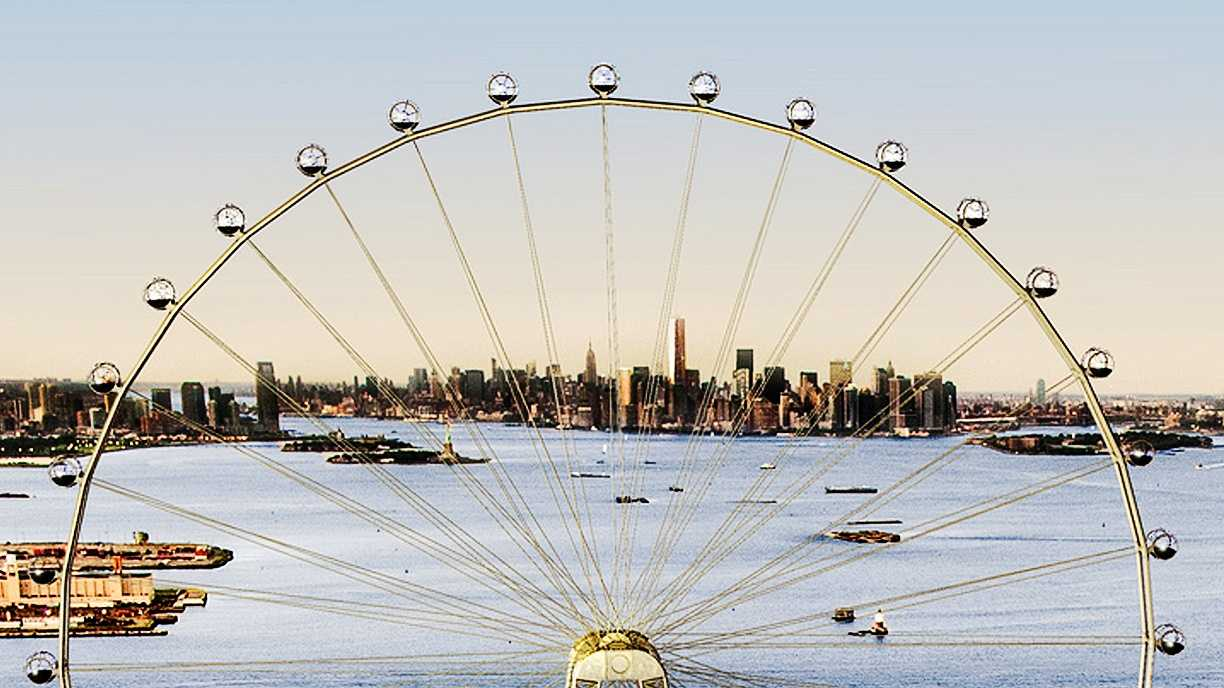 An artist's rendering shows what a proposed 625-foot Ferris wheel would look like on Staten Island.