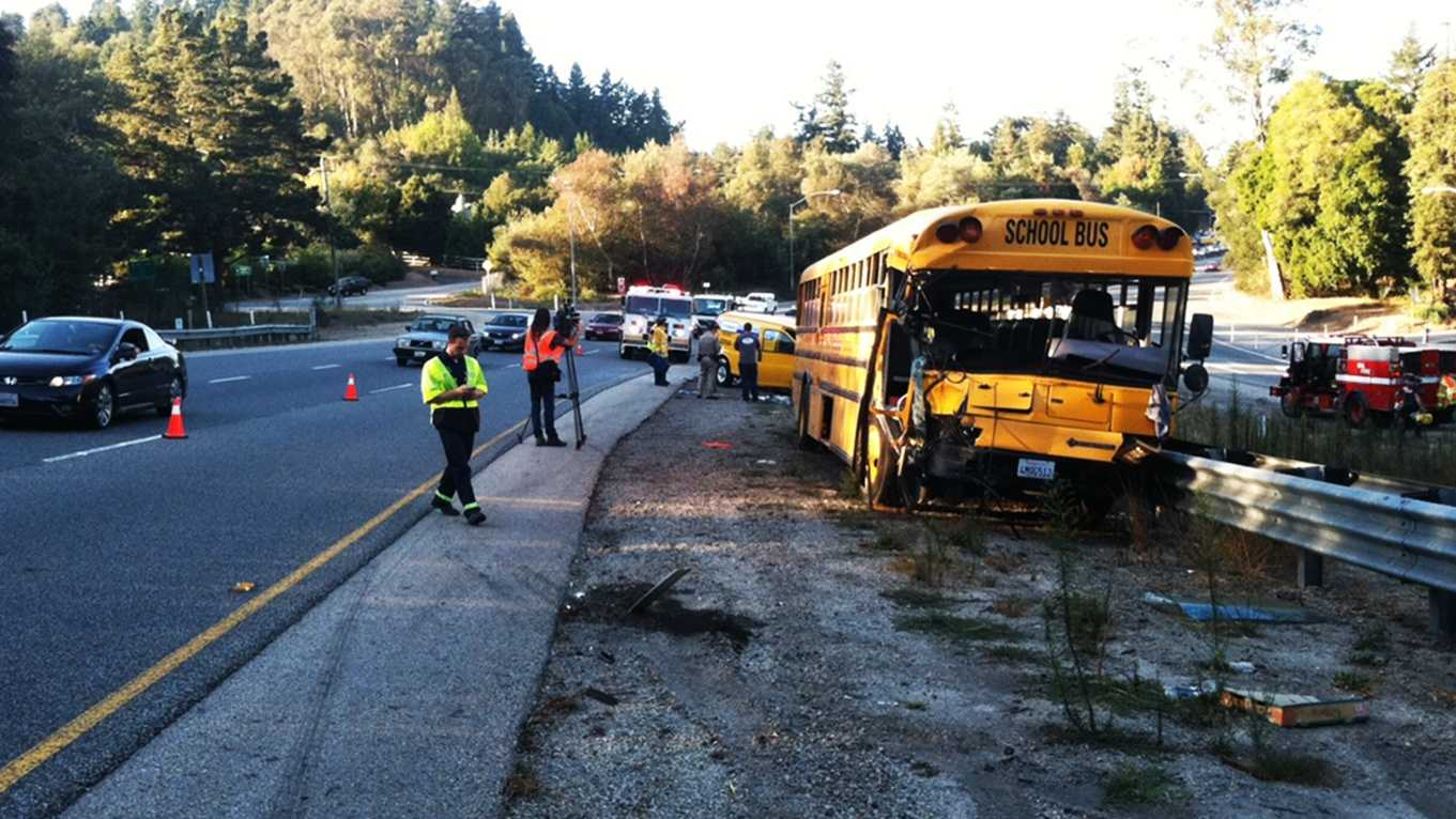 This school bus crashed on Highway 17 in Scotts Valley on Monday. (Oct. 1, 2012)