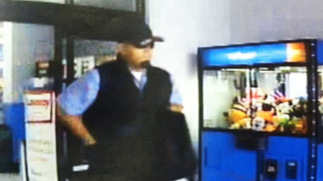 Salinas police said Richard Chacon is seen in this surveillance image robbing Walmart.