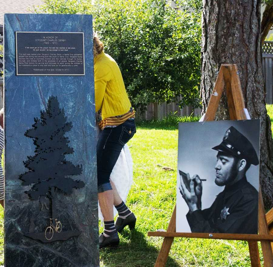 A 6-foot granite plaque was unveiled at a re-dedication ceremony on Oct. 6, 2012 in honor if the late Santa Cruz Police Sgt.Charles Derby. Sgt. Derby is seen in the black and white photograph on the right.