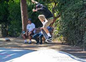 Skate Works Team riders showed their best moves at Derby Park after Saturday's ceremony.