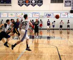 Aptos High School hosted the Warriors' open tryout in their gym.