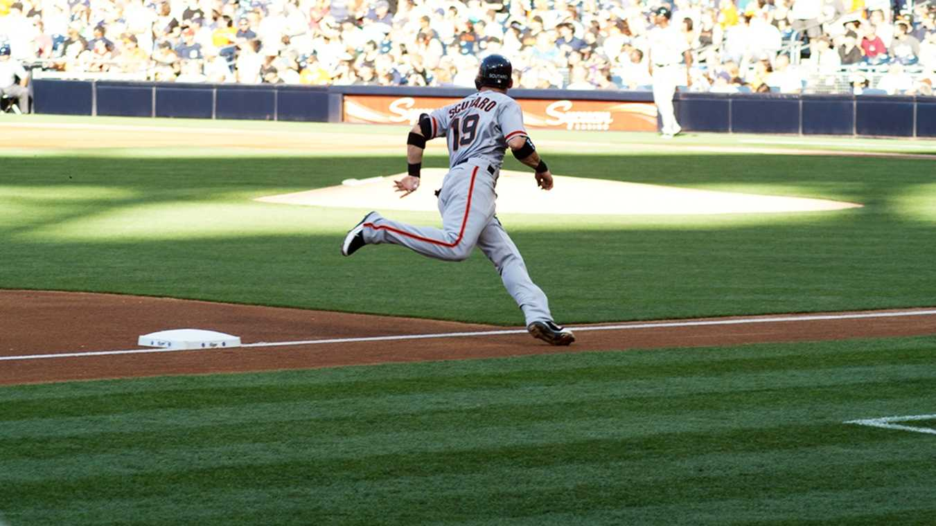 Marco Scutaro rounds the bases.