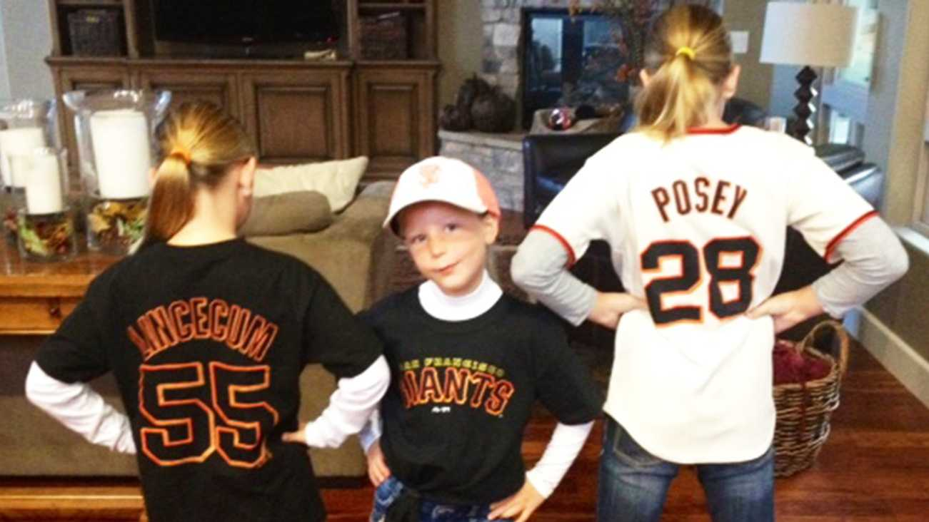 SF Giants fans Tatum, 7, Laine, 6, and Grace, 8, who all live in Salinas, are ready for the World Series.