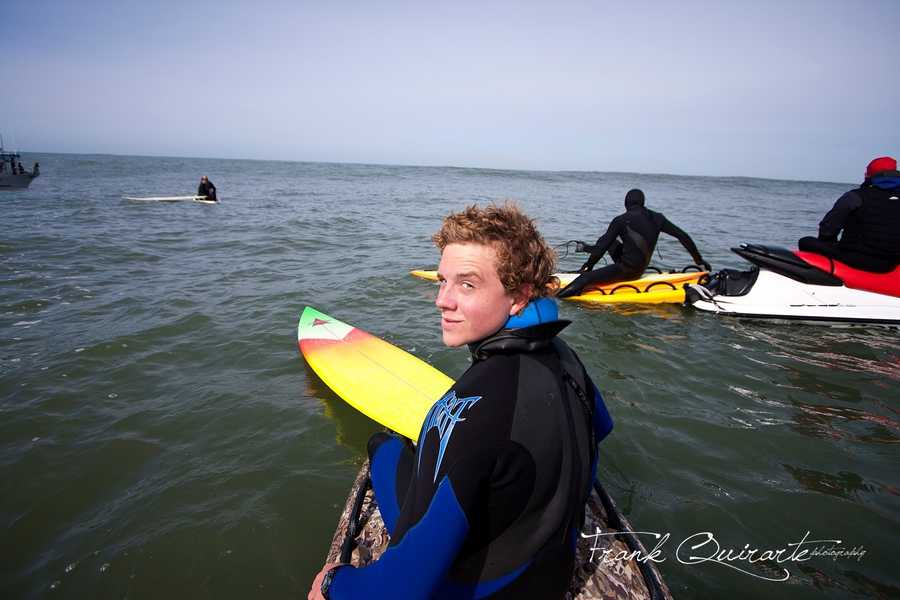 "Johnny Weston smiles at Mavericks during ""Chasing Mavericks"" filming last winter."