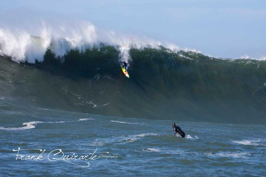A stunt double for Johnny Weston shreds a Mavericks wave during filming.