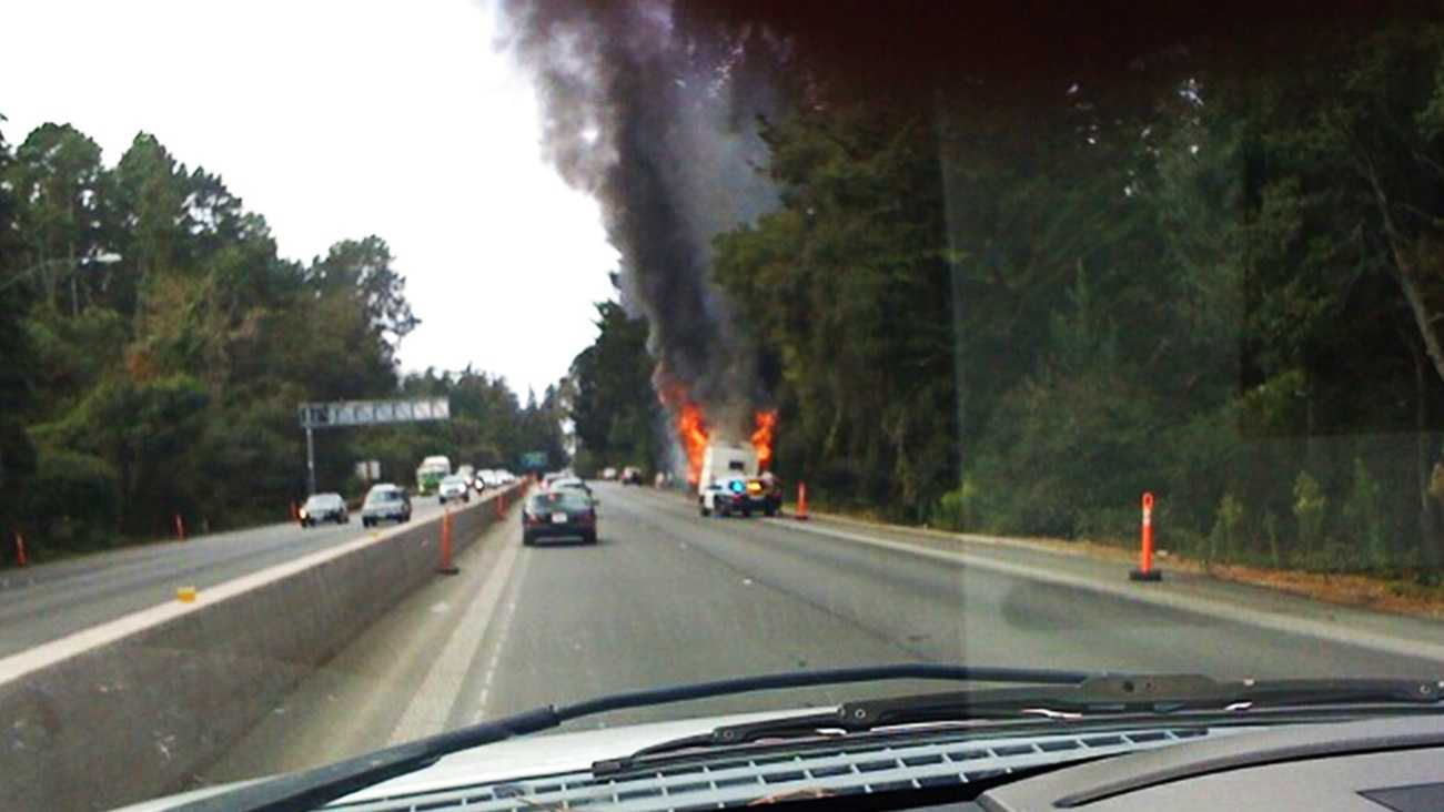 Cliff Nelson shot this photo of a vehicle burning on Highway 1 in Aptos. (Oct. 25, 2012)