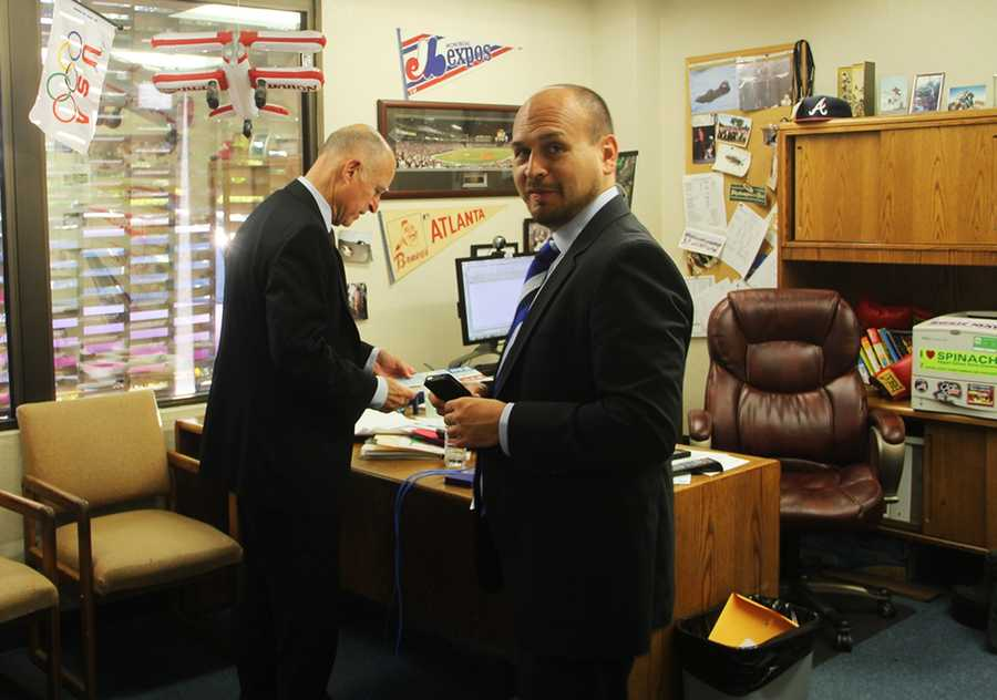 Gov. Jerry Brown stopped by KSBW's news station in Salinas for a live interview with anchor Dan Green on Oct. 25, 2012.
