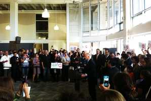 Earlier in the day, Gov. Brown spoke at Hartnell College in Salinas to win more votes for Proposition 30.