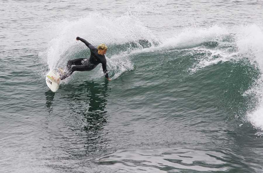 The Coldwater Classic is free to attend, and spectators can get great views while perched on top of cliffs stretching along West Cliff Drive at Steamer Lane.