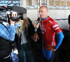 Kelly Slater was a happy surfer after he won his heats in Round 2 and 3.