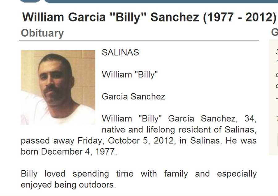 Oct. 4, 2012: William Garcia Sanchez, 34, of Salinas: shot while riding bicycle near Hartnell College.