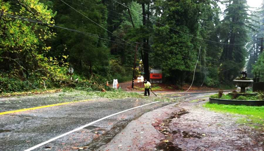Trees toppled over Highway 9 and ripped down power lines in Ben Lomond.(Nov. 30, 2012)
