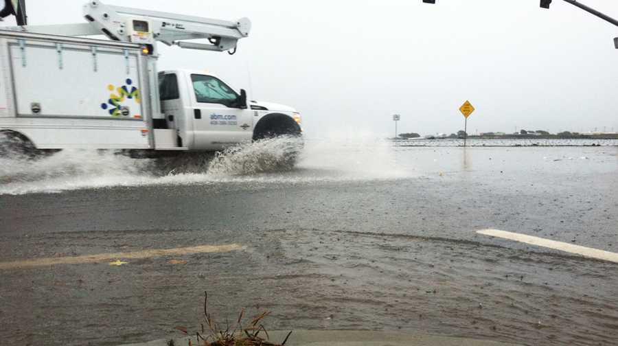 Davis Road in Salinas was flooded on Friday.(Nov. 30, 2012)