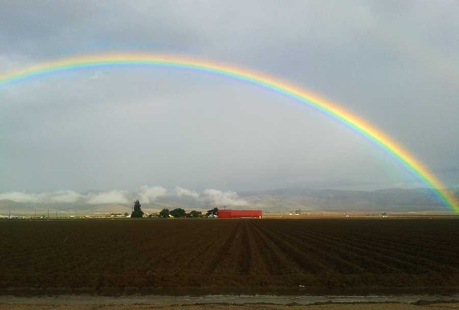 A beautiful rainbow arched over Gonzales near Old Stage Road after Friday's storm clouds moved beyond Monterey County.