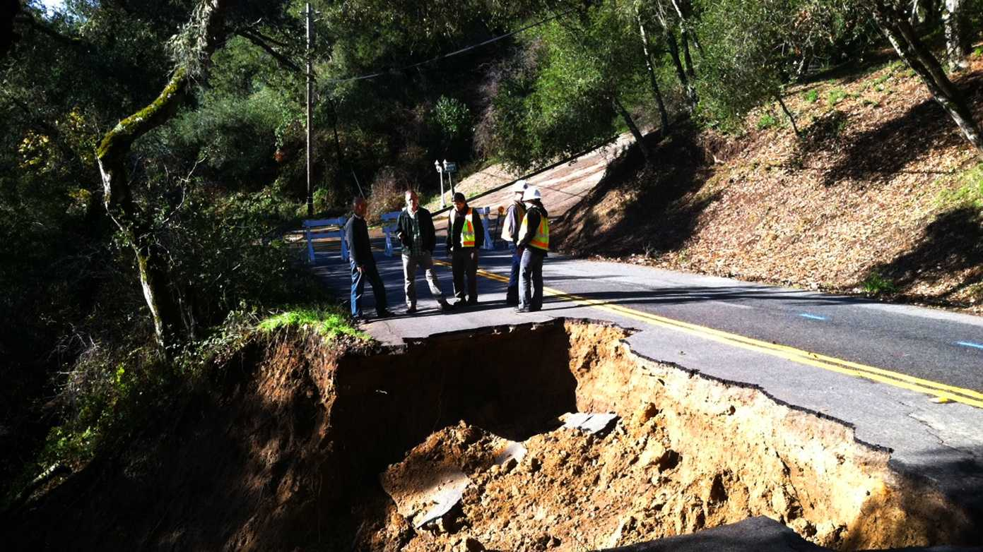 Vine Hill Road north of Scotts Valley collapsed during the three storms. (Dec. 3, 2012)