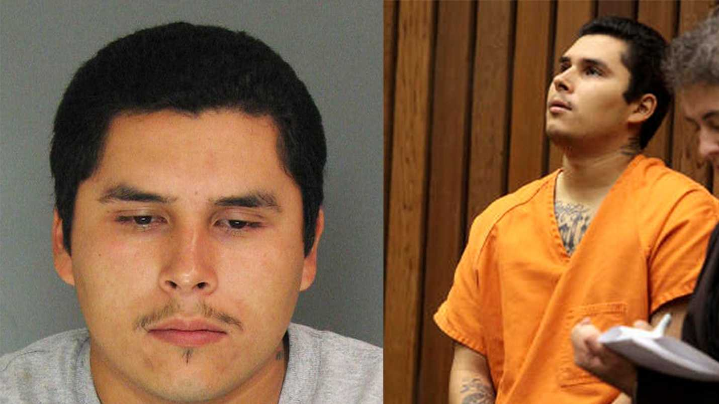Alejandro Camacho is seen in a mug shot, left, and in court on Wednesday, right.