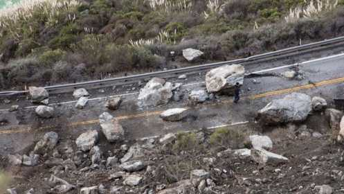 A rockslide made the Partington Ridge Road impassable.