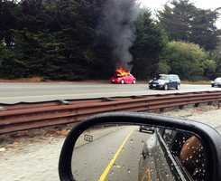 #11: Car fire on Highway 1A car on Highway 1 in Soquel goes up in flames.