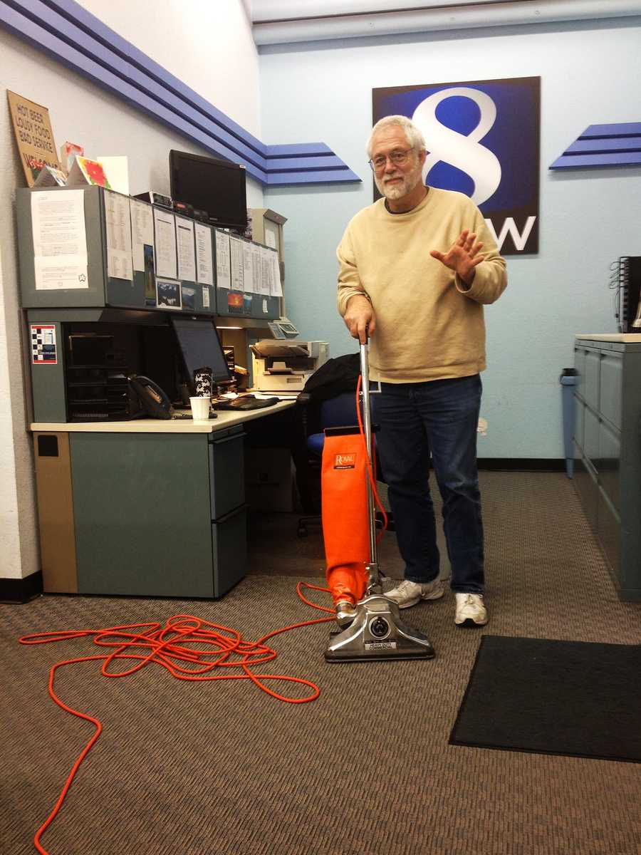 David Markowitz is not a janitor, he is KSBW's News Assignment Desk Manager. But when a gingerbread house accidentally went flying across the newsroom, he leaped into action with a vacuum that was likely manufactured in the 1970's.