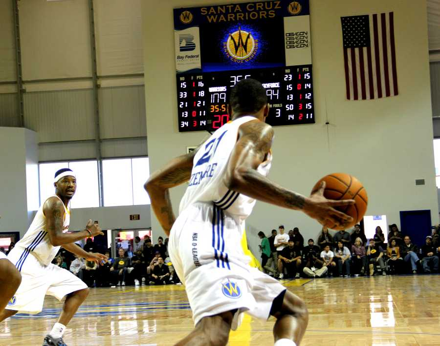 Jan. 1, 2013 Game:The Golden State Warriors NBA team moved their Development-League team from snowy North Dakota to sunny Santa Cruz last year after getting a green light from the city council, and the Warriors became Surf City's first-ever professional sports team.Read the story here