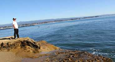Darryl Virostko watches the 2012 O'Neill Coldwater Classic at Steamer Lane in Santa Cruz.