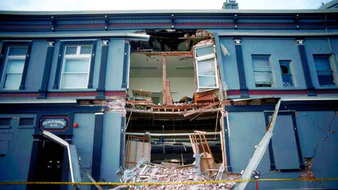 This building in downtown Santa Cruz collapsed during the 1989 Loma Prieta Earthquake.
