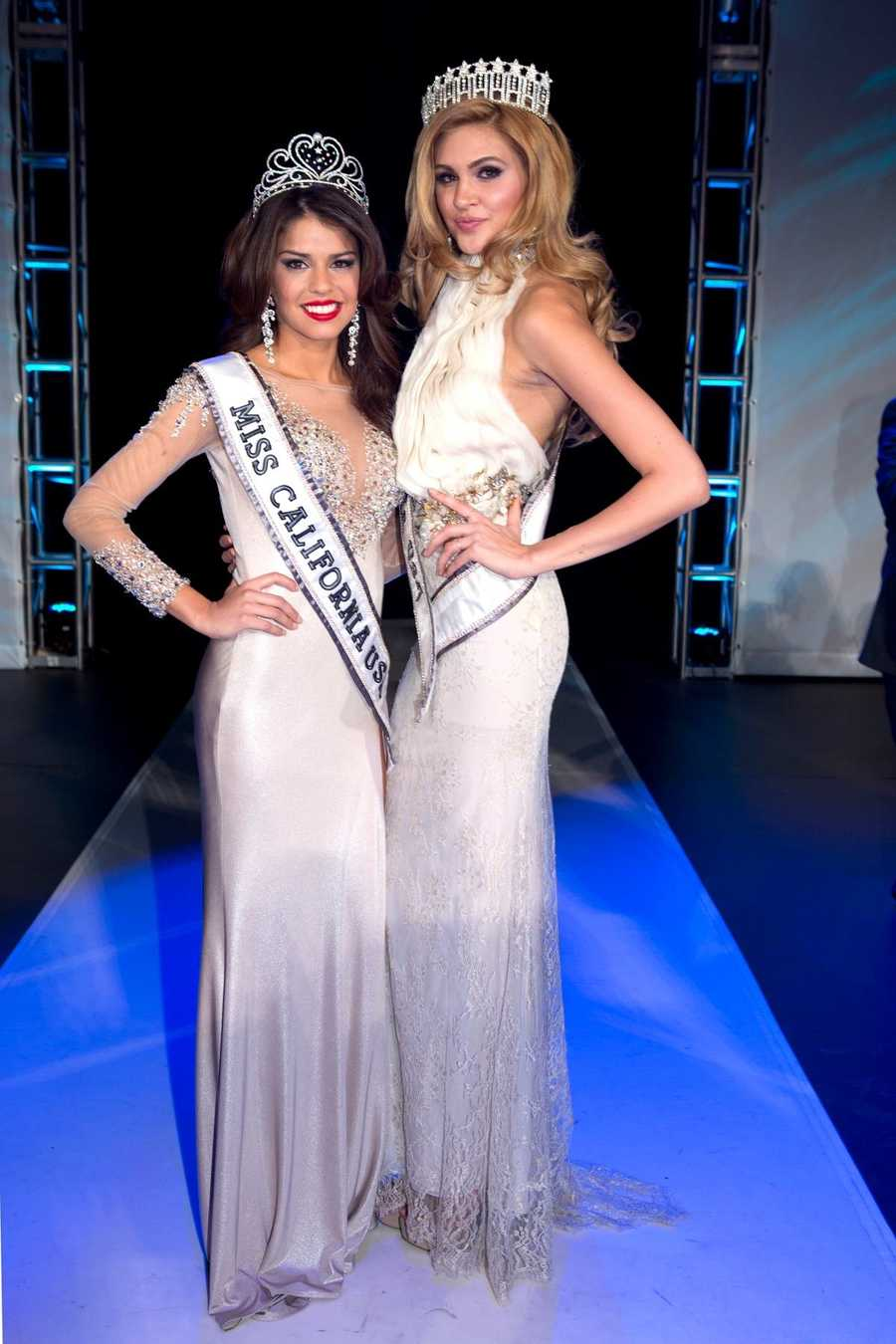 Mabelynn Capeluj poses with 2012 Miss California USANatalie Pack.