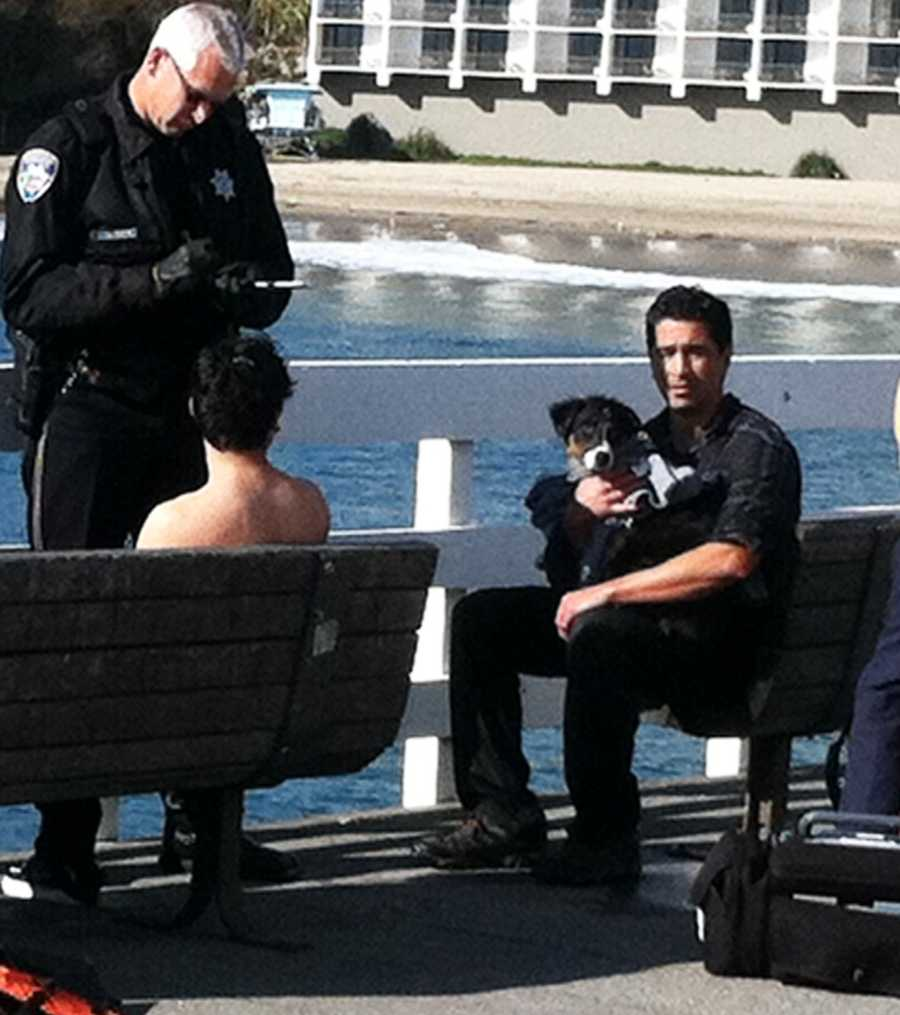 A dog, right, swam to shore after its owner drove off the Santa Cruz Wharf.