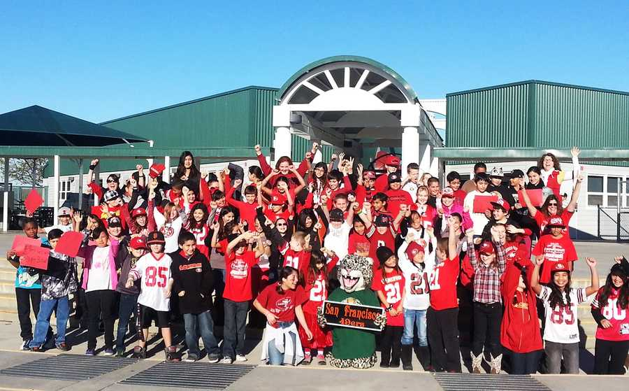 """Fifth grade students at Ladd Lane Elementary School in Hollister sent this photo to KSBW through ulocal!""""They believe they are the biggest 49er fans in Hollister,"""" one proud parent said."""