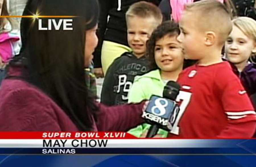 KSBW Reporter May Chow interviews young 49er football fans in Salinas!