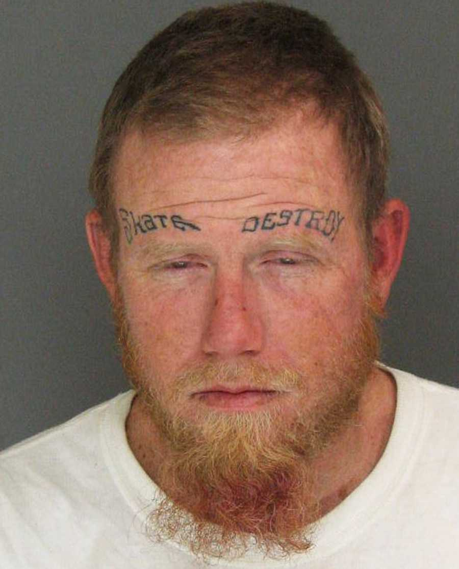 Patrick Collins, 36, was arrested in Santa Cruz on suspicion of stealing a bicycle.