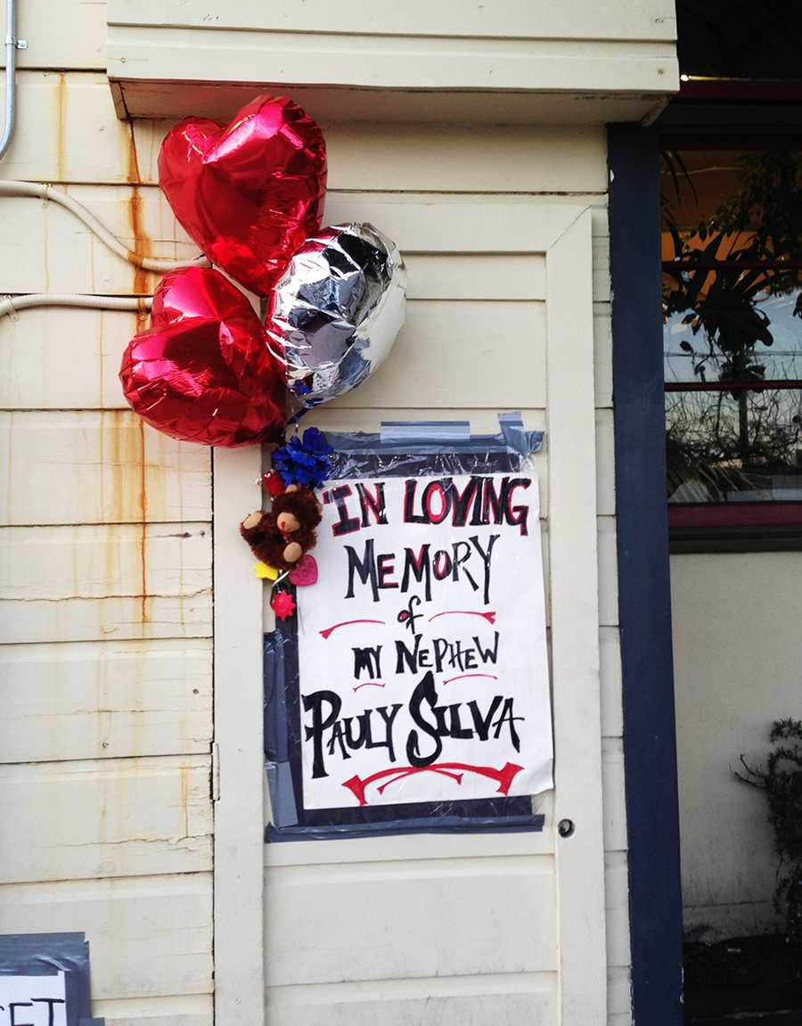 A memorial was made for Silva outside the Red Room where he was slain. (Feb. 11, 2013)