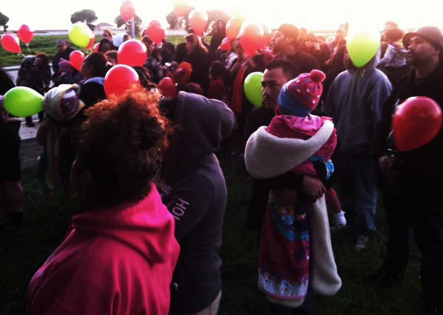 Family and friends of 10-month-old Angelle Jenisis Negron released balloons in the baby's memory on Wednesday. (Feb. 20, 2013)