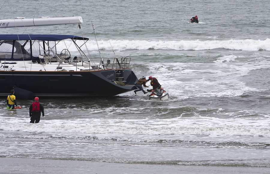 """After television news reports of the grounding aired Monday, the boat's owner called police to report it stolen, Sausalito police Sgt. Bill Fraass said.""""We do have thefts of vessels throughout the area, but the theft of a vessel of this size is uncommon,"""" Fraass said.Photo by Frank Quirarte / Mavsurfer.com"""