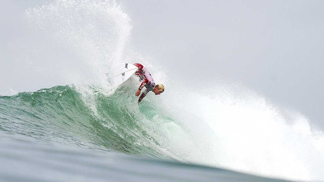 Nat Young is seen competing at Rip Curl Pro Bells Beach. (Photo by Rip Curl / Dunbar)
