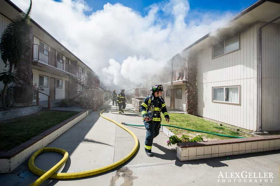 A mother and her toddler daughter were in critical condition at a Bay Area trauma center Wednesday after they were trapped in a blazing Seaside apartment complex.