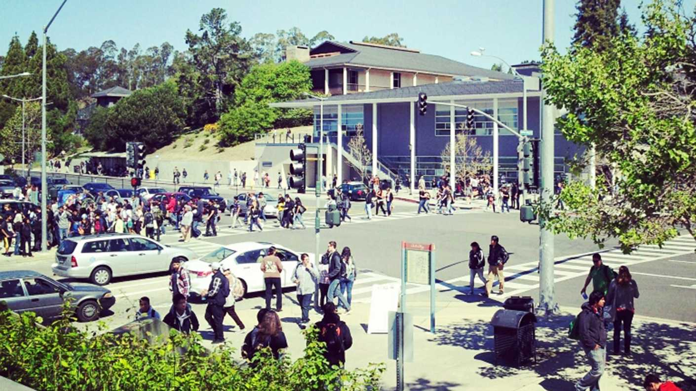 Cabrillo College student Megan Strait shot this photo of her fellow students evacuating campus Thursday.