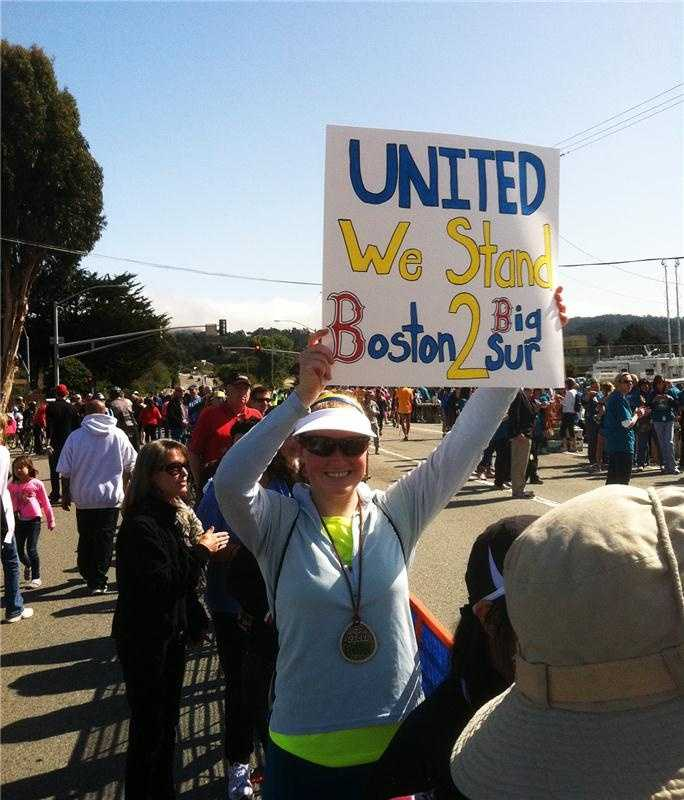 Nicole Bobco, of Moss Landing, shows her support for the Boston Marathon victims.