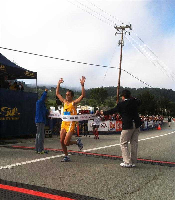 Adam Roach, 29, of Pacific Grove, won the 2013 Big Sur International Marathon when he crossed the finish line at 2:27:46.Josh Whitehead, 34, of Madison, Alabama, was leading the pack of elite runners as they approached the finish line. But in the final stretch, defending 2012 champion Roach surged ahead to win it.Roach must have been training hard this past year because he completed the 2013 marathon five minutes faster than his 2012 race.