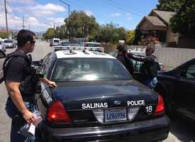 Miguel Marquez Rodriguez is handcuffed outside his house on the 600 block of Fremont Street in Salinas. (May 29, 2013)