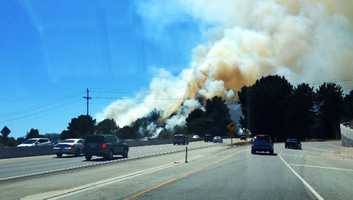 A homeless woman and man were arrested on suspicion of intentionally igniting several wildfires in Santa Cruz near the Highway 1 and Highway 17 fishhook on June 20, 2013.