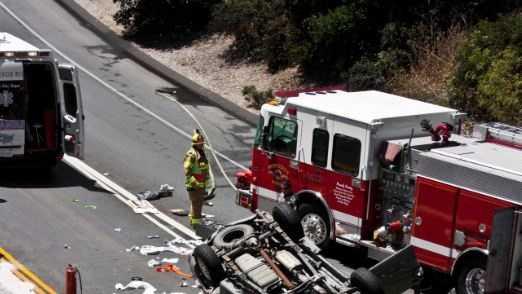 Overturned vehicle on Hwy 68