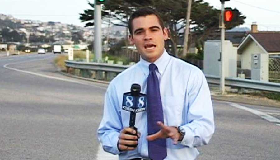 KSBW Reporter Tom Miller stands in the intersection where the driver was stopped with a spike strip, tackled by a K-9 CHP dog, and arrested.