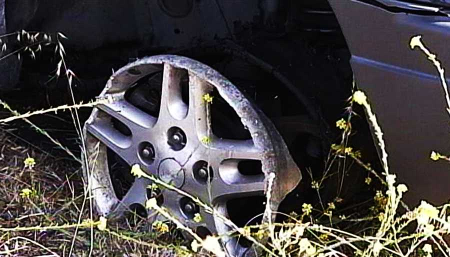 The Jeep was finally slowed down in Morro Bay when it rolled over a spike strip. Even though her tires were reduced to shreds, the driver kept going on just rims for 10 minutes until the Jeep crashed into a ditch.