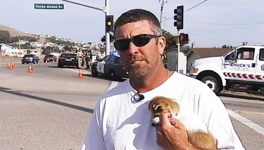 """Witness Grady Bell saw the Jeep zoom past him out of control in Morro Bay just before it wrecked. """"All of a sudden I heard the sirens. I looked over, and I saw a car driving through the intersection on three wheels,"""" Bell said."""