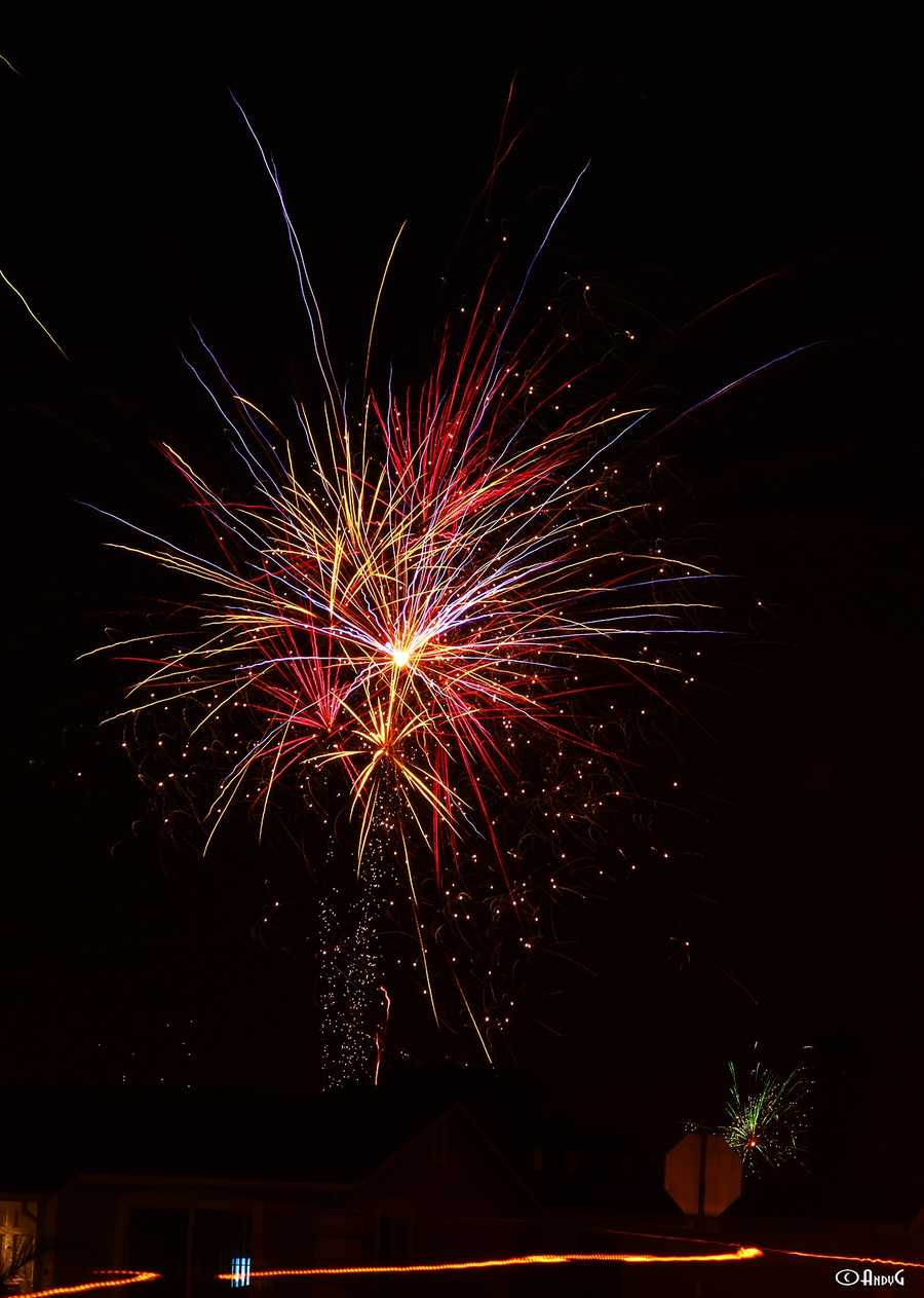 Illegal fireworks shoot into the sky in Salinas. (July 4, 2013)