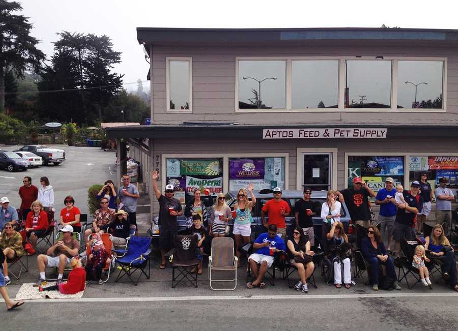 Hello Aptos! KSBW Anchor Michelle Imperato snapped this photo while riding on top of a news truck in the Aptos shortest parade. (July 4, 2013)